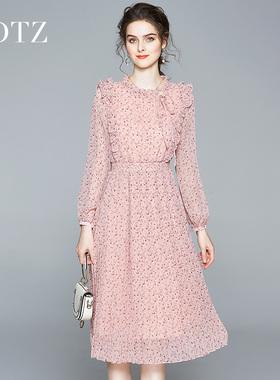2021年秋装长袖田园碎花连衣裙减龄粉雪纺百褶裙优雅气质粉色裙子