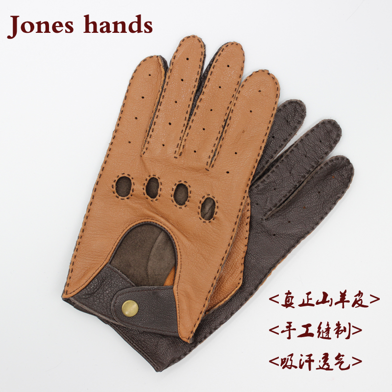 Leather locomotive mens classic driver youth light brown dark brown package mail Motorcycle Bicycle split finger riding gloves