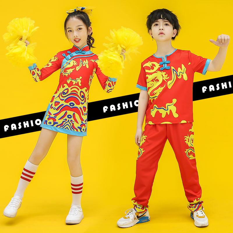 儿童啦啦操比赛服装竞技健美运动会拉拉队中国风旗袍男女表演出服