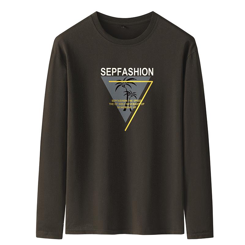 蒙德保罗2019秋季新款长袖T恤男青年圆领打底衫印花图案字母潮流
