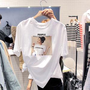 纯棉T恤女短袖2020新款韩版宽松百搭ins潮春夏季女装白色半袖上衣