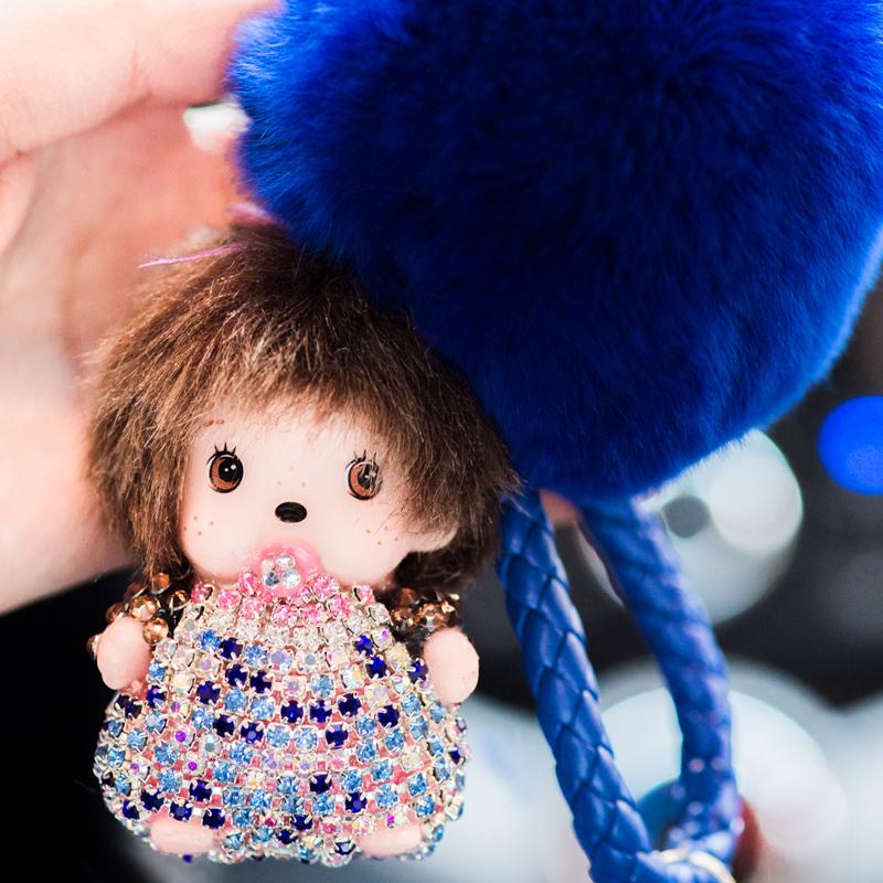 蒙奇奇钥匙扣女士韩国可爱创意汽车挂件饰品毛球镶钻毛绒包包挂饰