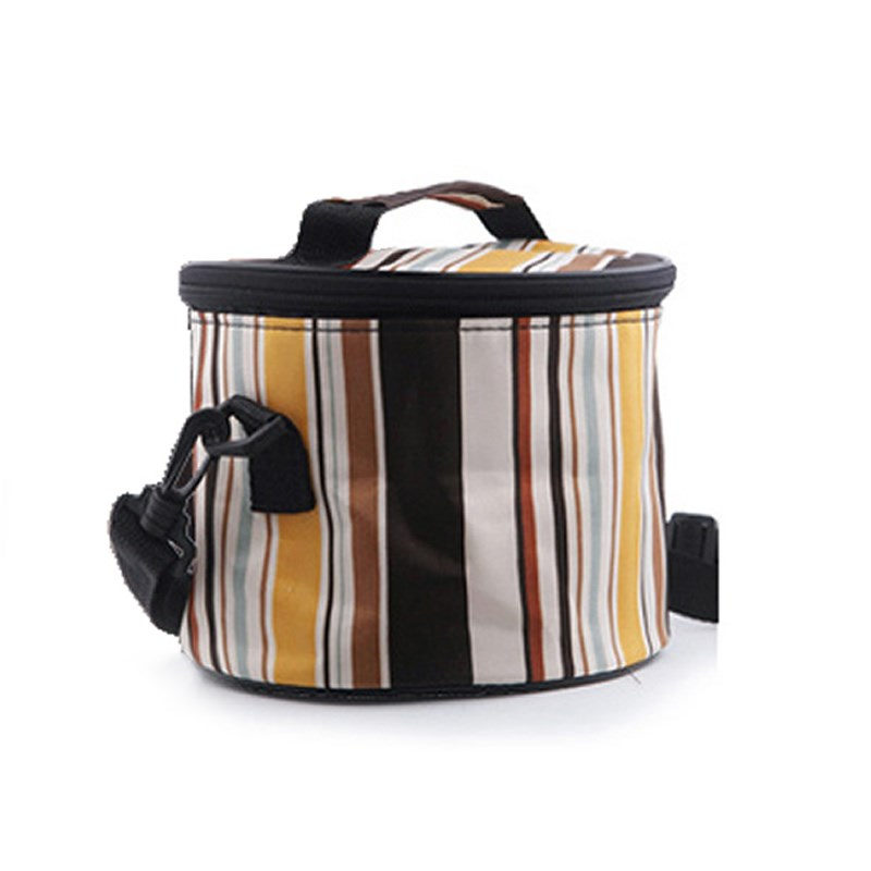 Round heat preservation lunch box bag with bucket cover waterproof portable Oxford canvas thickened lunch bag with rice ice