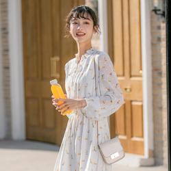 秋季炸街气质超仙女秋装2020年新款女雪纺碎花连衣裙内搭打底冬裙