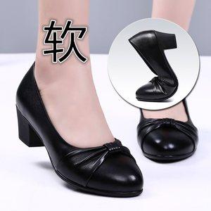 雪地意尔康妈妈单鞋女中跟舒适女鞋子中老年真皮粗跟软底女式皮鞋