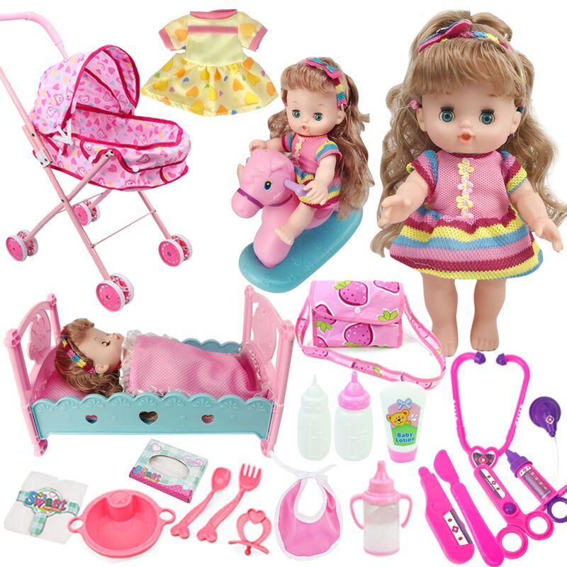 女孩过家家玩具手推车带娃娃仿真婴儿宝宝公主洋娃娃女童购物车