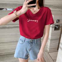 酒红色上衣女2021年新款夏季宽松纯棉短袖t恤韩版打底衫字母心潮