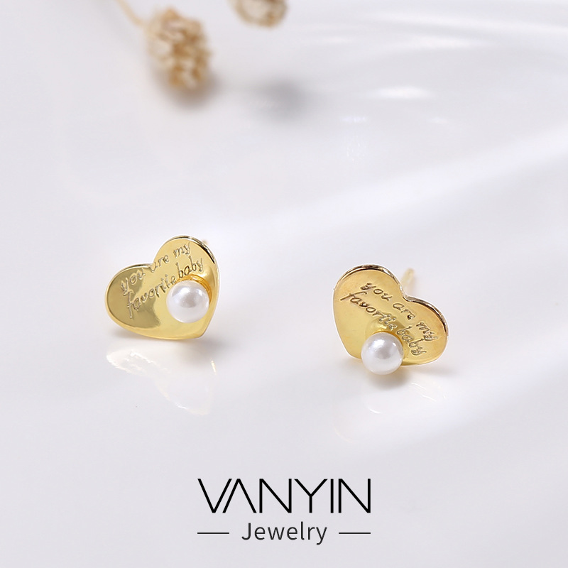 WANYING jewelry love Round Earrings S925 pure silver pearl round pieces personalized creative Earrings b157