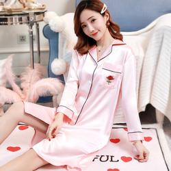 衬衫式睡裙女夏性感冰丝长袖夏季薄款春秋连衣裙丝绸裙子女士睡衣