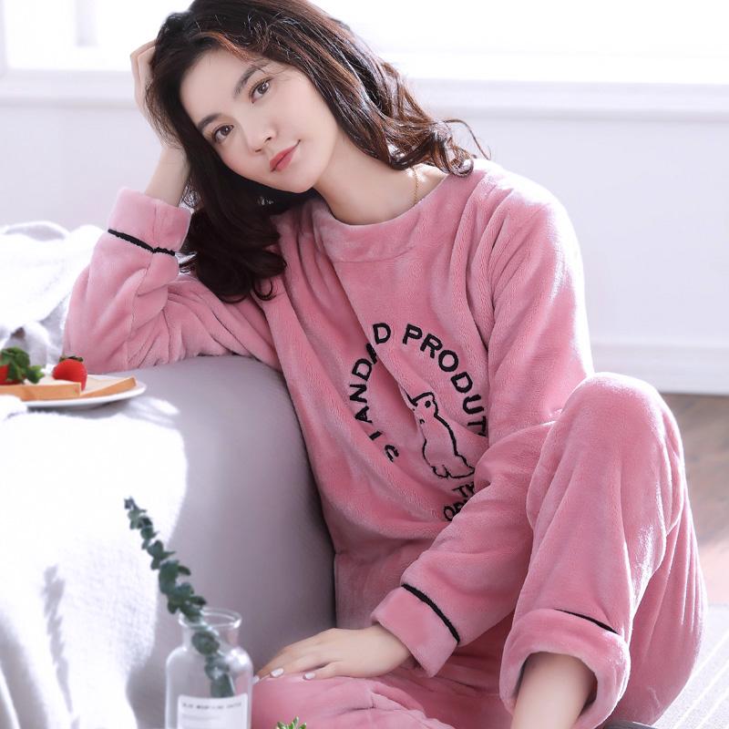 睡衣女冬保暖加厚珊瑚绒套装加绒韩版可爱套头法兰绒家居服可外穿