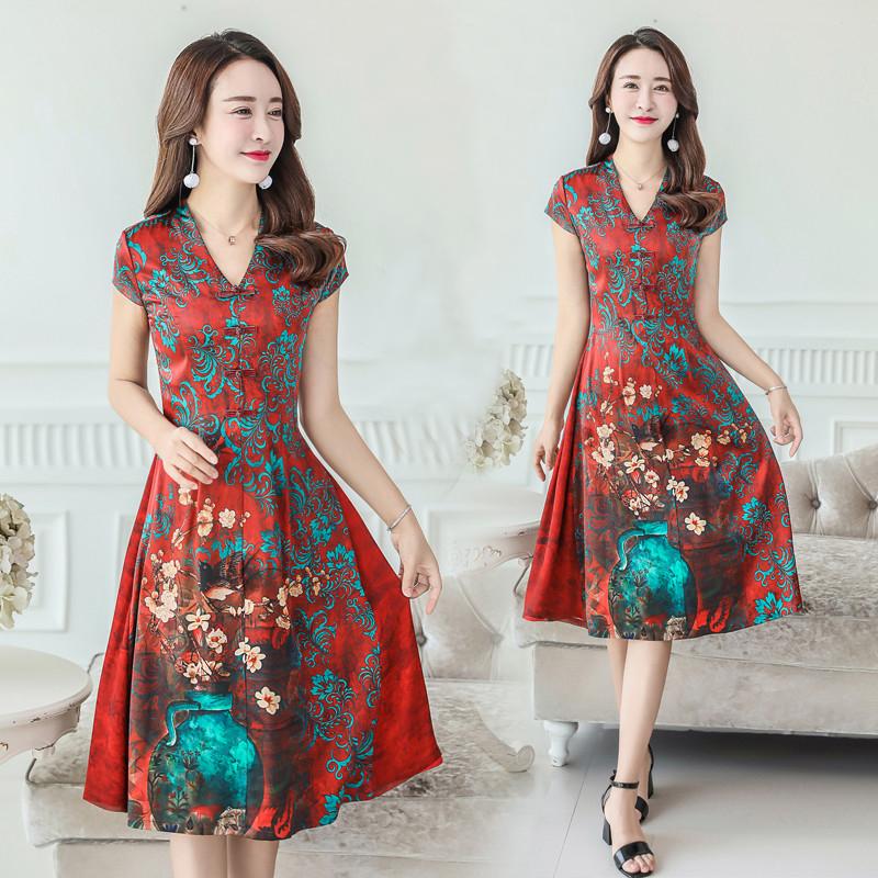 反季重磅真丝连衣裙中长款女2018夏季新款高端杭州桑蚕丝大码女装