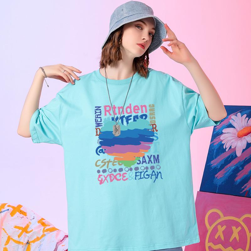 2021新款夏季t恤女短袖蒂芙尼蓝爱心体恤宽松休闲百搭圆领半袖潮