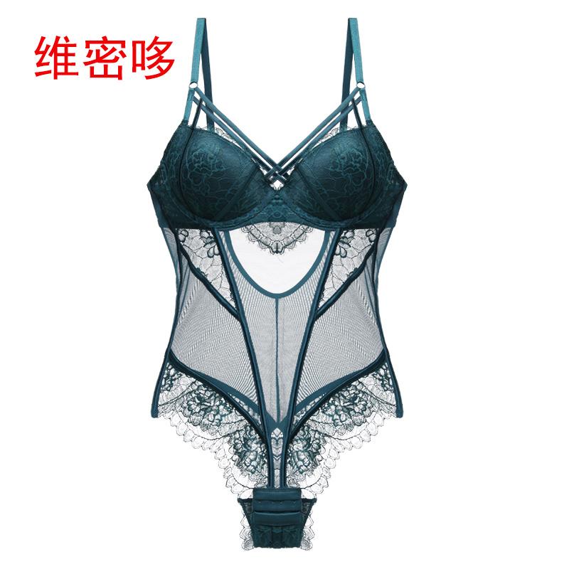 维密哆塑身连体衣美衣超薄夏季欧美性感情趣透明网纱文胸套装连体