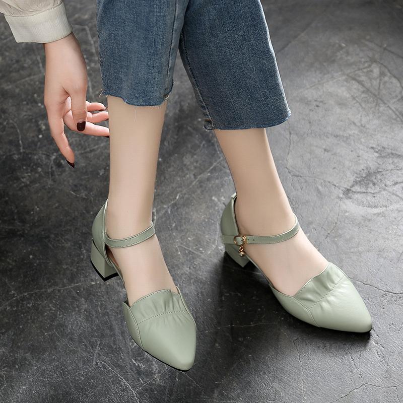 真皮包头凉鞋夏季2021年新款软皮女鞋休闲百搭中跟粗跟皮鞋夏单鞋