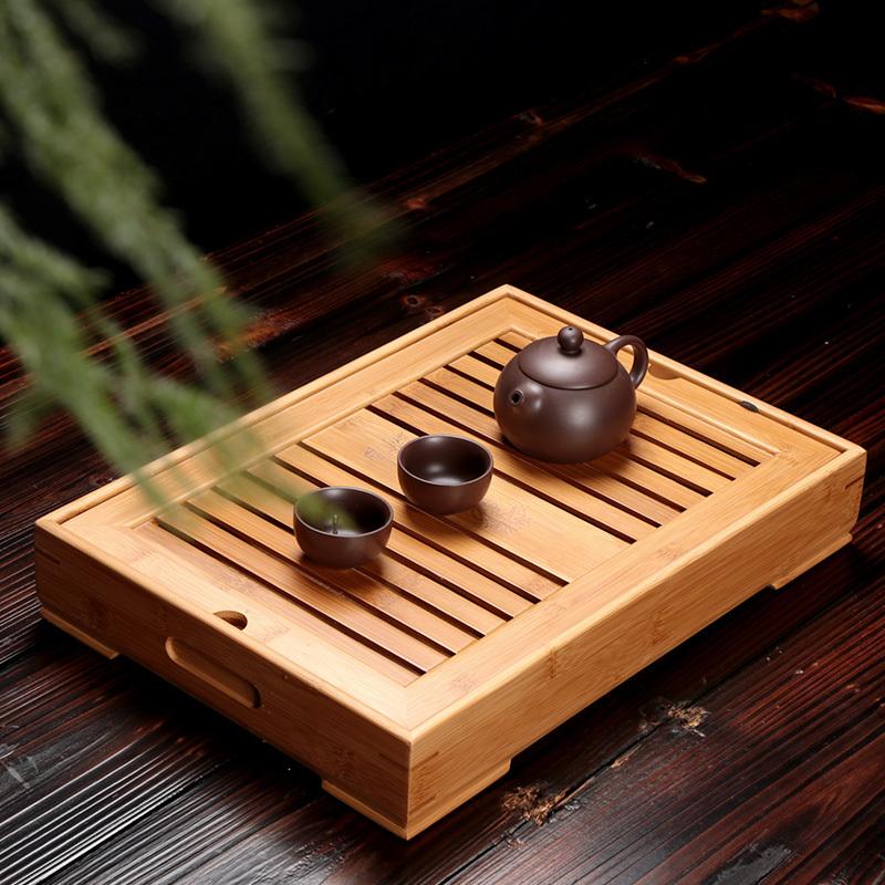 小号茶台简约现代竹子茶盘家用竹制功夫茶具托盘长方形储水式客厅