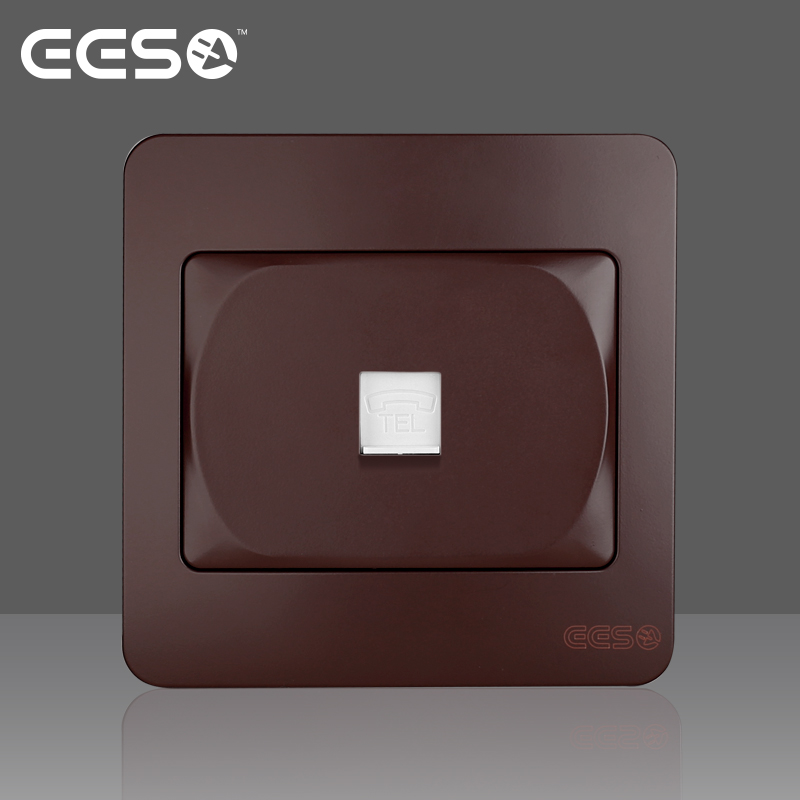 Keyidee EES electrical switch socket panel sardine series Mahogany Brown one digit wired telephone socket