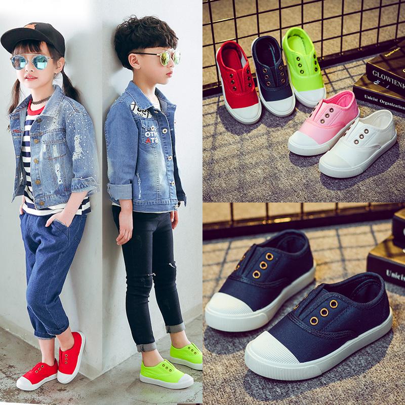 2018秋季儿童网鞋帆布鞋宝宝鞋小白鞋女童鞋男童布鞋运动鞋子韩版