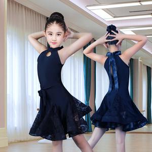 黑色拉丁舞女童无袖蕾丝露背练功服