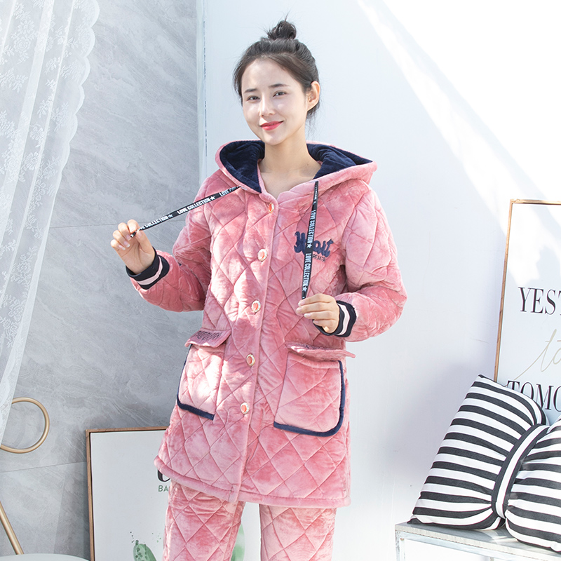 Winter womens long and thick pajamas coral fleece three layer cotton sandwich lovely Plush household clothes with hood can be worn with cotton padded jacket