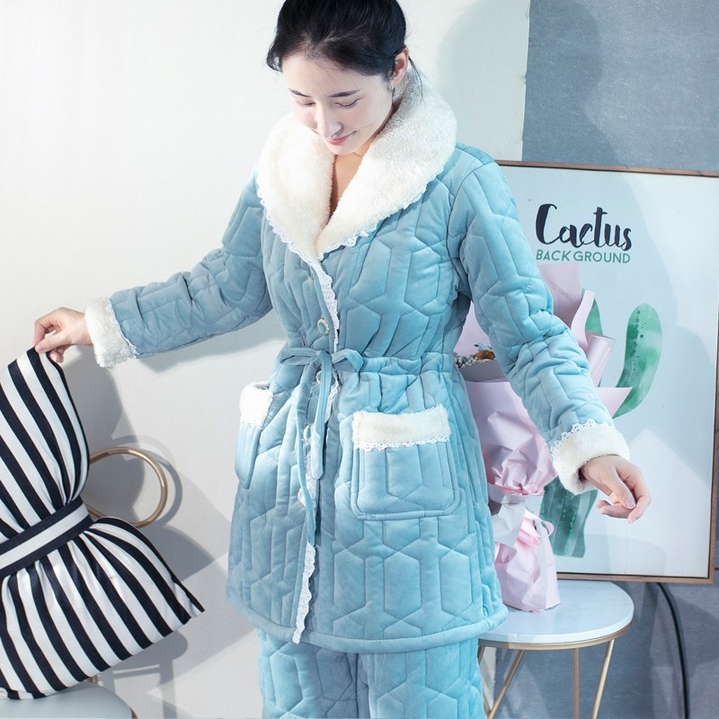 Womens winter Plush pajamas with caps sweet and lovely warm home clothes three layer cotton padded jacket suit can be worn out