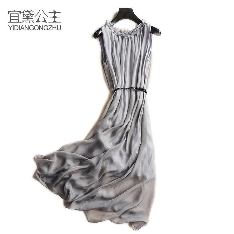 夏装新款无袖圆领纯色真丝仙女裙 度假风长款飘逸连衣裙宽松显瘦