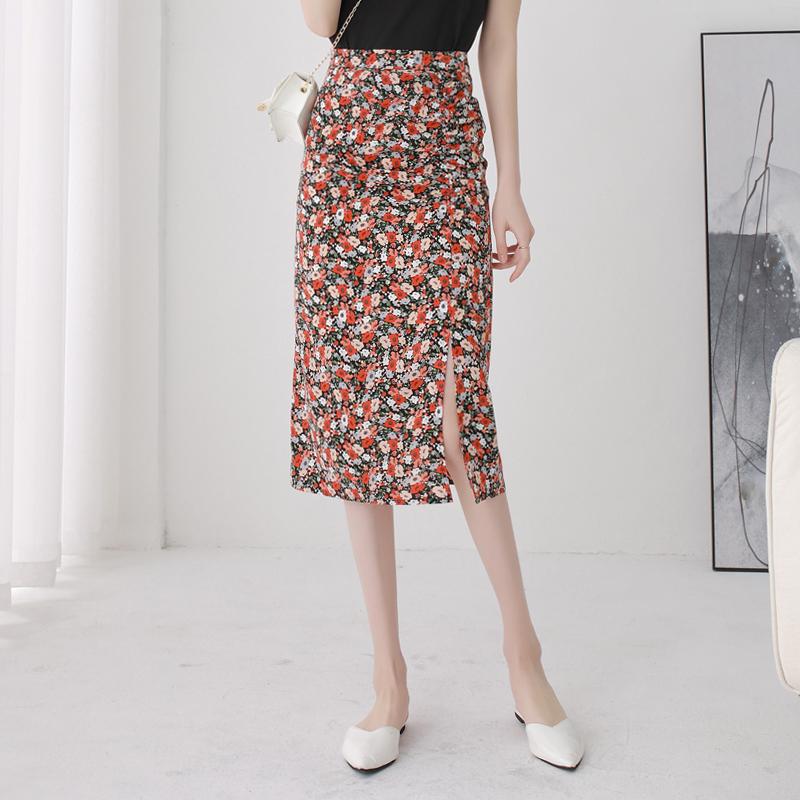 碎花半身裙女夏中长款韩版高腰小个子开叉褶皱雪纺一步裙包臀裙子