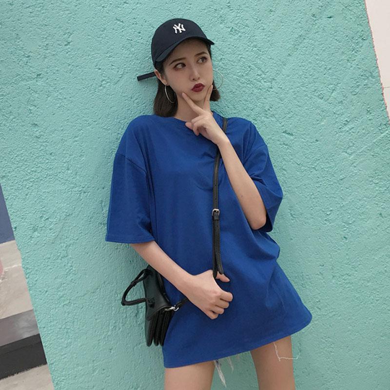 夏装韩版纯色短袖t恤女宽松慵懒街头bf嘻哈下体失踪百搭打底上衣39.00元包邮