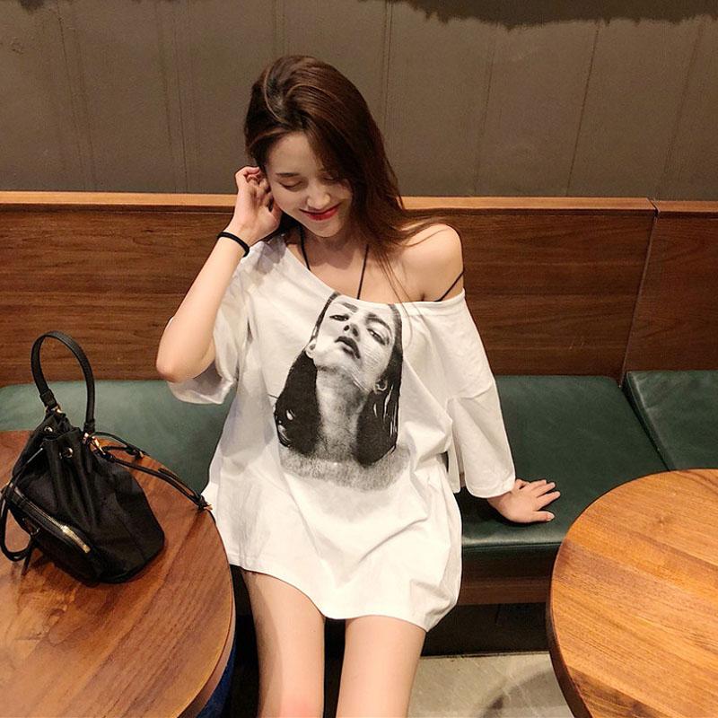 宽松T恤女韩版ulzzang夏装中长款百搭原宿bf风学生露肩短袖上衣潮图片