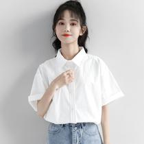 2021夏季新款白色工装短袖衬衫女夏宽松韩版纯色上衣百搭休闲衬衣