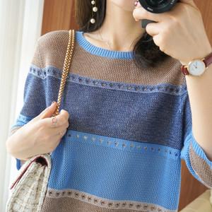 领【20元券】购买2021春夏新款毛线针织七分袖打底衫