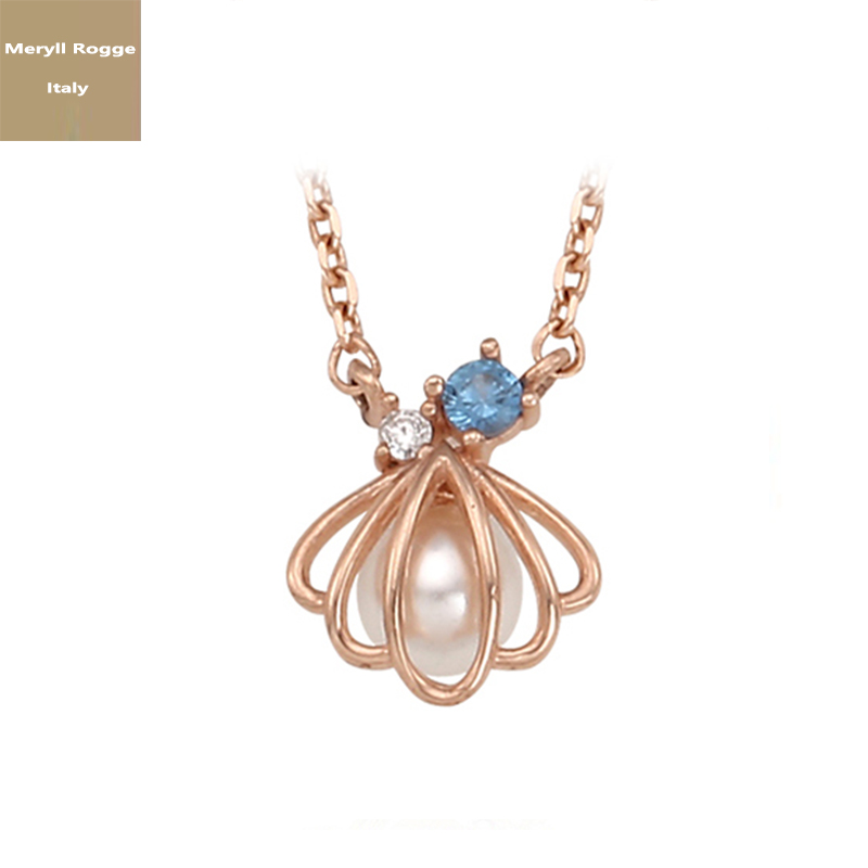 Meryl Rogge whole body S925 Silver Necklace female clavicle chain pearl shell pendant Japan and South Korea fashion