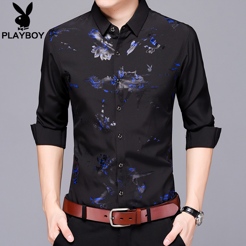 Playboy shirt men's long-sleeved Korean slim printed shirt 2020 autumn tops young men's inch shirts