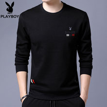 Playboy long sleeve t-shirt men's round neck plus plush and thickened men's sweater men's autumn and winter men's Korean version top fashion t