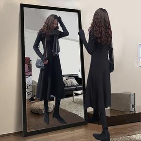 黑色针织连衣裙女秋冬2020新款春修身气质赫本风长裙中长款小黑裙