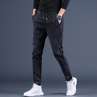 牛仔裤 休闲裤 子男裤 高端条纹男士 长裤 修身 新款 秋季 显瘦小脚裤 潮流
