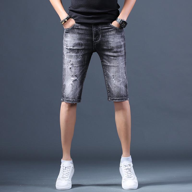 夏季男士五分牛仔中裤休闲男裤薄款修身韩版潮流破洞印花牛仔短裤热销3件正品保证
