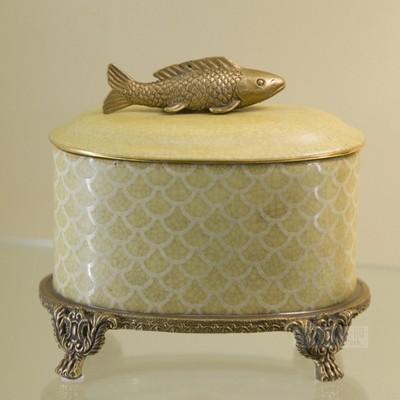 纽约下城公园进口东方福气锦鲤铜脚陶瓷鱼纹装饰盒收纳盒礼品