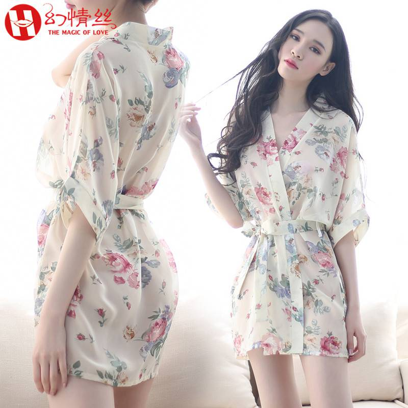 Sexy lingerie Chiffon transparent Pajama uniform role play Maid Adult hot nightdress suit bed