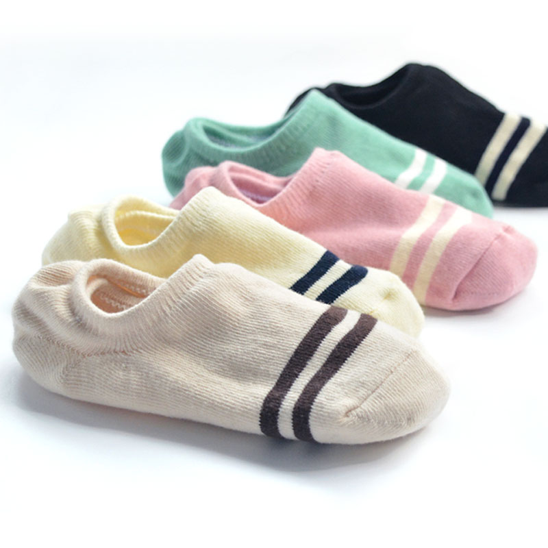 袜子女秋冬短袜浅口ins潮纯棉可爱条纹隐形船袜女硅胶防滑不掉跟