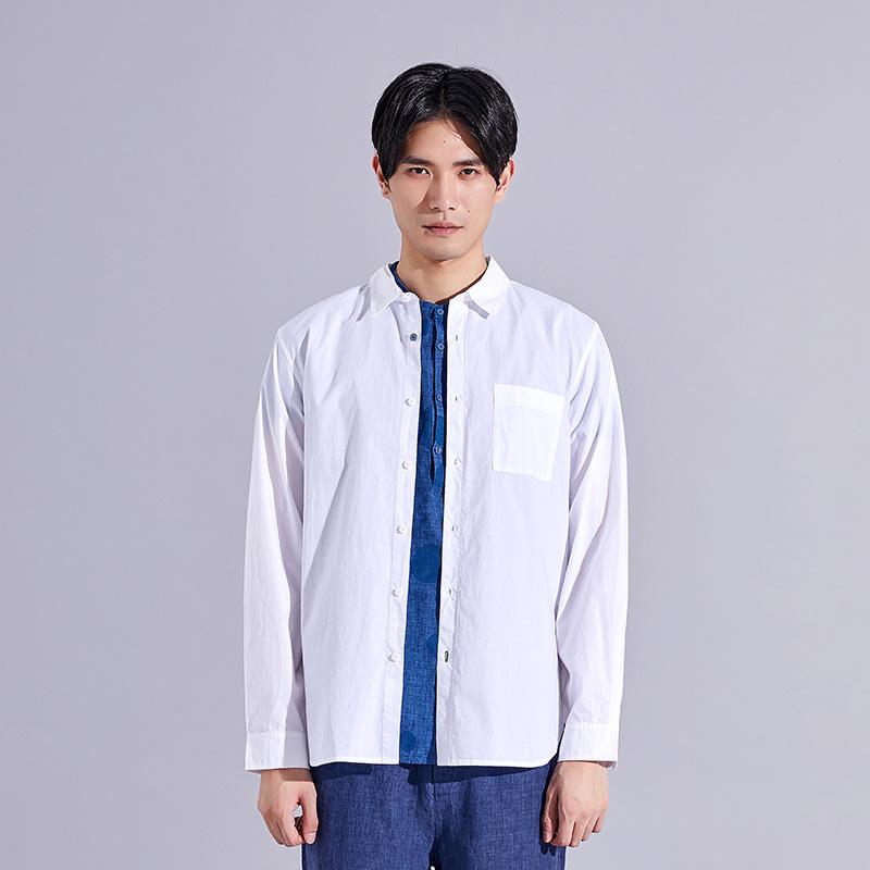 【商�鐾�步款】SENSU/森所�棉�L袖翻�I�r衫潮流新款白SC183180