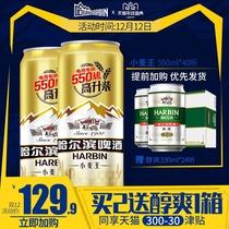 整箱量贩易拉罐促销装40听哈尔滨啤酒小麦王550ml