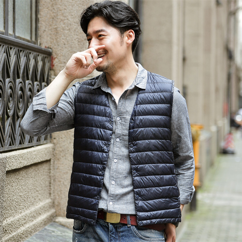 New collarless down jacket with inner gallbladder waistcoat for men in autumn and winter