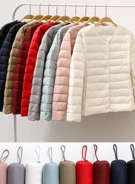 2021新款轻薄羽绒服女保暖内胆短款大码修身时尚外套秋冬女装圆领