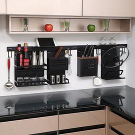 免打孔厨房置物架黑色太空铝刀架挂架四件套锅盖架调料架筷子架