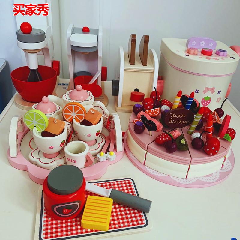65.00元包邮女孩仿真做饭餐具儿童过家家厨房煮饭套装下午茶生日蛋糕木制玩具