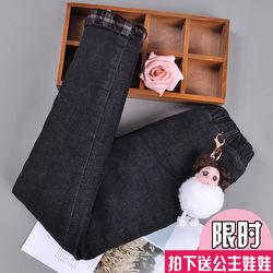 女童冬加绒加厚外穿北方儿童牛仔裤中大童三层夹棉裤子一条过冬