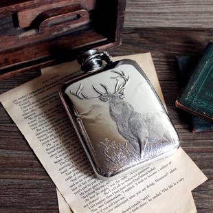浮雕雄鹿 经典 现货 6盎司送皮套 BUCK巴克随身酒壶英国手工锡器