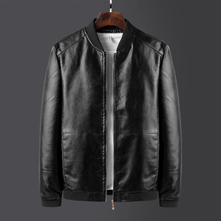 春秋皮衣修身韩版青年帅气潮流新款冬季加绒机车服男士皮夹克外套