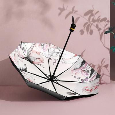 太阳伞防晒防紫外线女遮阳伞小upf50+双层黑胶折叠海螺两用晴雨伞