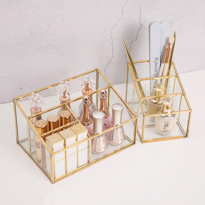 简约北欧桌面杂物遥控器置物盒化妆品收纳盒美甲化妆品玻璃收纳盒淘宝优惠券